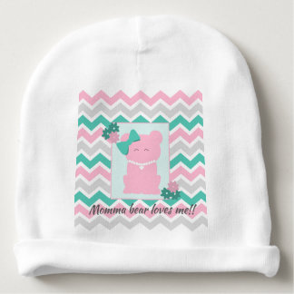 Pink Teal Chevron with Girl Bear Wearing Pearls Baby Beanie