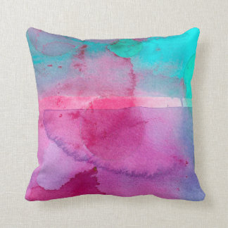 Pink Teal Purple Ombre Watercolor Throw Pillow