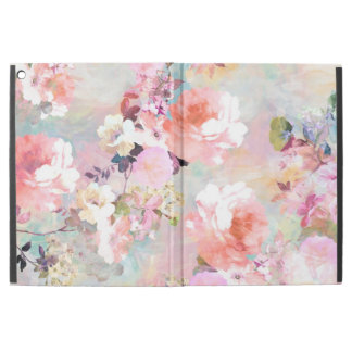 """Pink teal watercolor chic floral pattern iPad pro 12.9"""" case"""