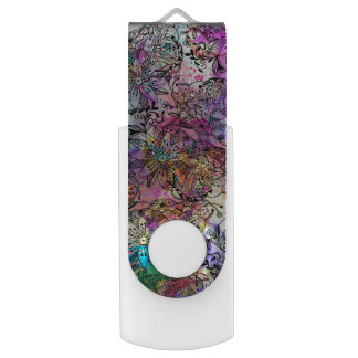 Pink teal watercolor hand painted tangle floral swivel USB 3.0 flash drive