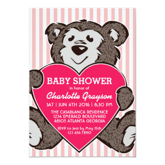 Pink Teddy Bear and Heart Baby Shower Invitation