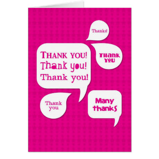 pink thank you! greeting card