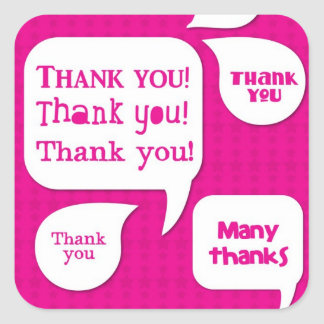 pink thank you! square sticker