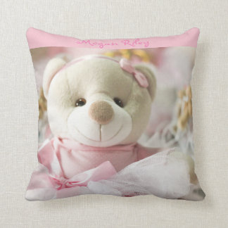 Pink Throw Pillow Baby Girl Teddy Bear
