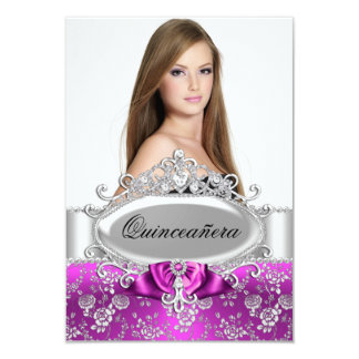 "Pink Tiara & Floral Rose Quinceanera Invite 3.5"" X 5"" Invitation Card"