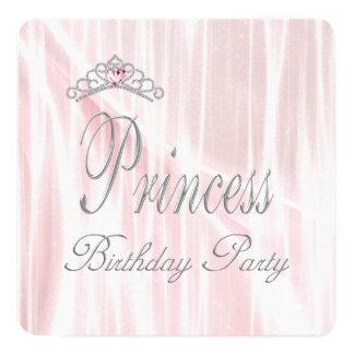 Pink Tiara Girls Princess Birthday Party Card