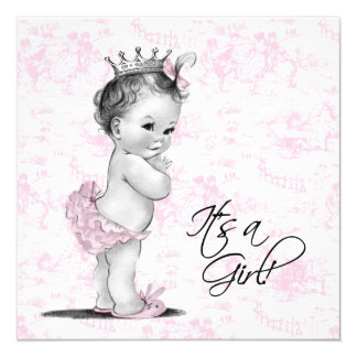 Pink Toile Baby Girl Shower Card