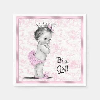 Pink Toile Baby Shower Disposable Serviette