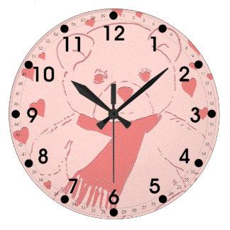 Pink Toned Teddy Bear Wallclocks