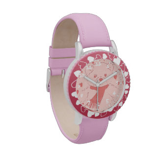 Pink Toned Teddy Bear With Hearts Wristwatch