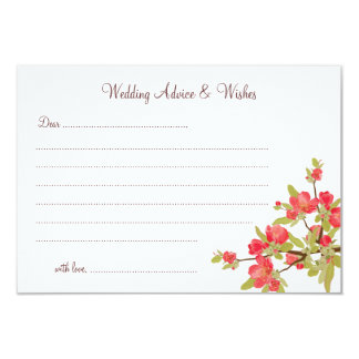 Pink Tree Blossoms Wedding Advice & Wishes Cards