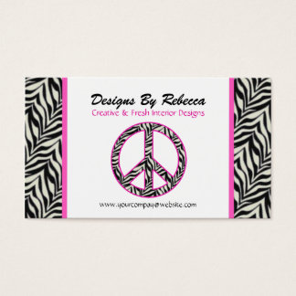 Pink Trimmed Zebra Peace Sign Business Card