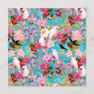 Pink Tropical Bird And Orchid Flower Pattern