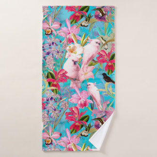 Pink Tropical Bird And Orchid Flower Pattern Bath Towel Set