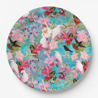 Pink Tropical Bird And Orchid Flower Pattern Paper Plate