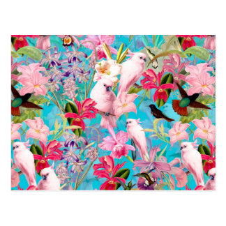 Pink Tropical Bird And Orchid Flower Pattern Postcard