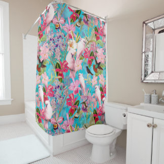 Pink Tropical Bird And Orchid Flower Pattern Shower Curtain