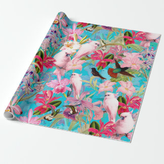 Pink Tropical Bird And Orchid Flower Pattern Wrapping Paper