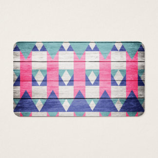 Pink Turquoise Geometric Pattern Gray Wood Business Card