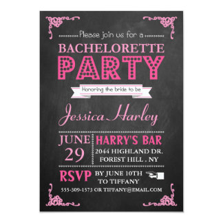 Pink Typography Chalkboard Bachelorette Party Card