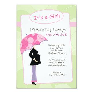 Pink Umbrella - Baby Shower Invitation - It's a Gi