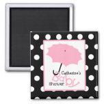 Pink Umbrella Baby Shower - White Polka Dots Magnet