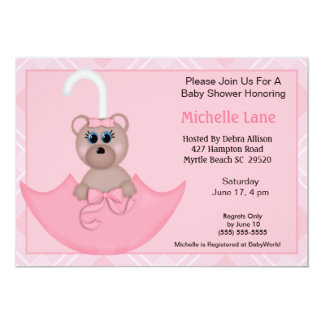 Pink  Umbrella Bear Baby  Shower Invitations