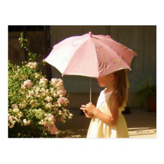 Pink Umbrella Girl Post Card