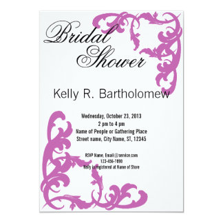 Pink Victorian Flourish Filigree Bridal Shower 13 Cm X 18 Cm Invitation Card