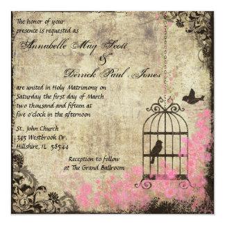 Pink Vintage Birdcage Wedding Invitation