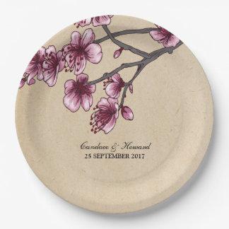 Pink Vintage Cherry Blossoms Paper Plates