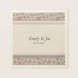 Pink vintage floral chintz wedding disposable napkins