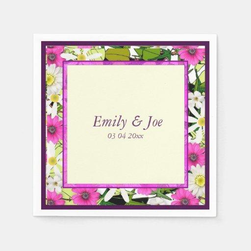 Pink vintage floral chintz wedding paper napkins