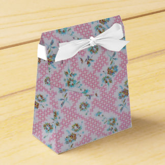 Pink vintage floral fabric box wedding favour boxes