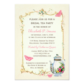 Pink Vintage French Bridal Tea Party Card