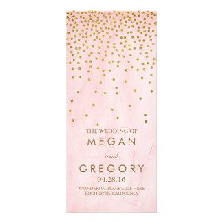 Pink Vintage Gold Confetti Wedding Programs Customized Rack Card