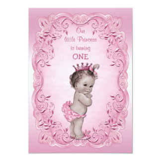 Pink Vintage Princess 1st Birthday Party 13 Cm X 18 Cm Invitation Card
