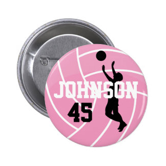 Pink Volleyball with Silhouette Player Pinback Button