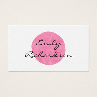 Pink Water Color Modern Two-Sided Business Card