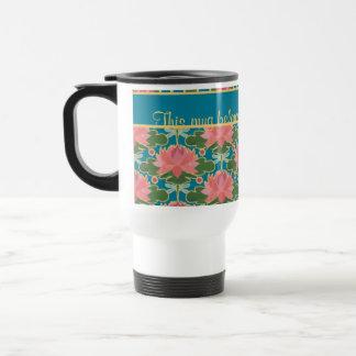 Pink Water Lilies Dragonflies Custom Travel Mug
