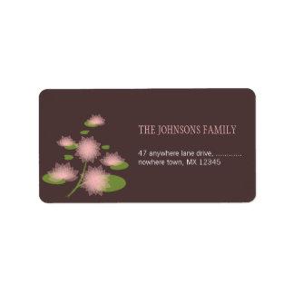 Pink Water Lily Elegant Contemporary Wedding Address Label