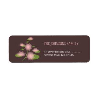 Pink Water Lily Elegant Contemporary Wedding Return Address Label