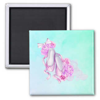 Pink Watercolor Ballet Shoes with Peonies and Bow Square Magnet