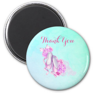 Pink Watercolor Ballet Slippers Thank You 6 Cm Round Magnet