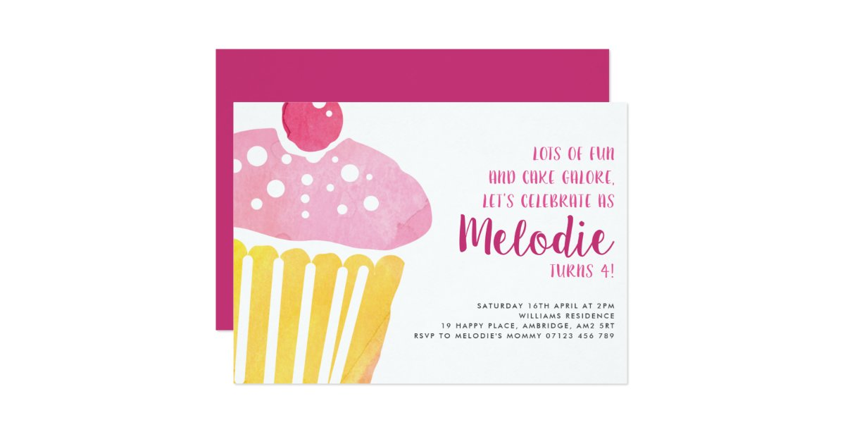 Pink Watercolor Cupcake Birthday Party Invitation