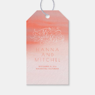 Pink Watercolor Elegant Typography White Wedding