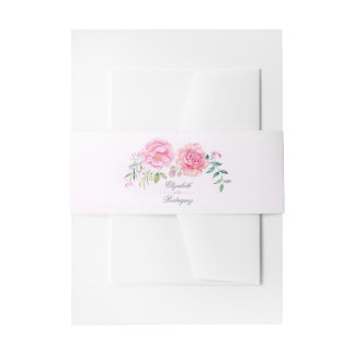 Pink Watercolor Flowers Elegant Bohemian Wedding Invitation Belly Band