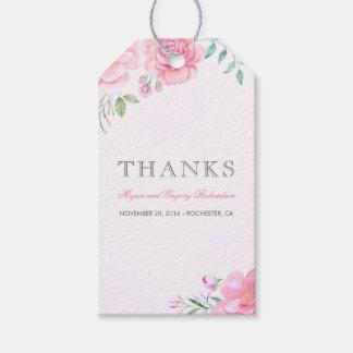 Pink Watercolor Flowers Elegant Boho Gift Tags
