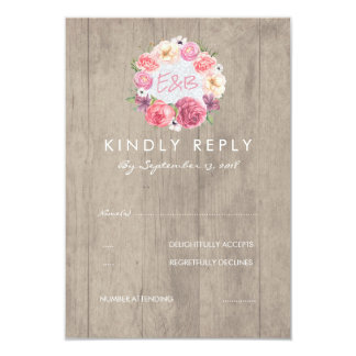 Pink Watercolor Flowers Rustic Wood Wedding RSVP Card