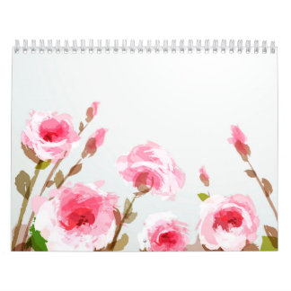 pink watercolor rose floral boho bloom calendars